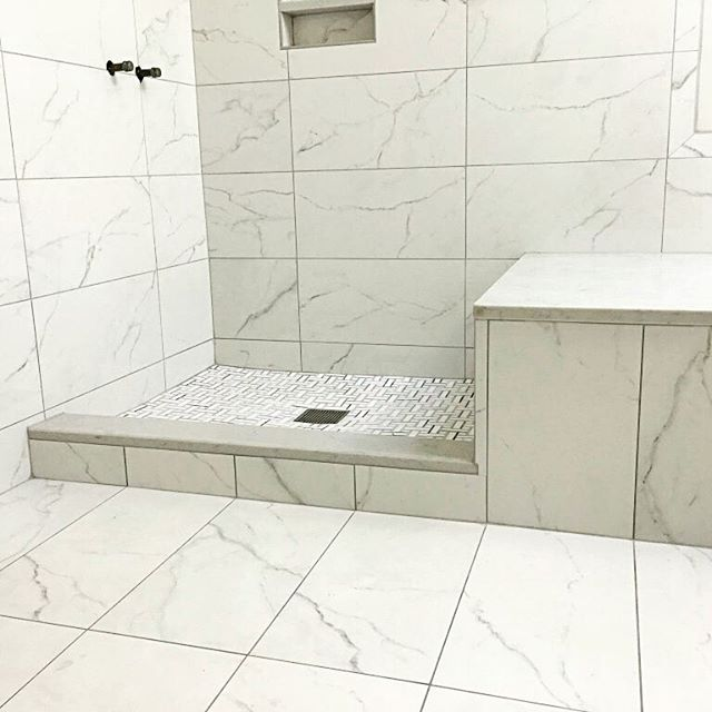 12 x 24 floor and wall porcelain tile that replicates a Carrara marble