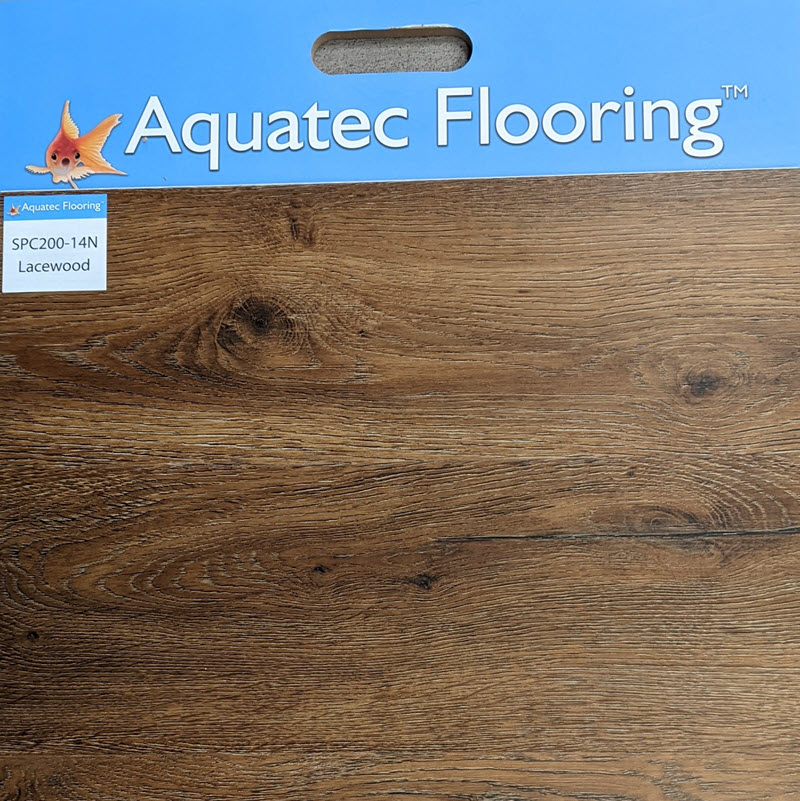 Aquatec-Flooring Lacewood features warm browns and beiges