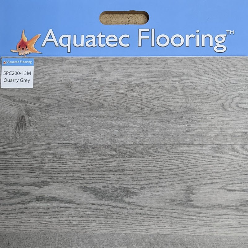 Quarry Grey from Aquatec Flooring offers a contemporary vibe to wood flooring looks.