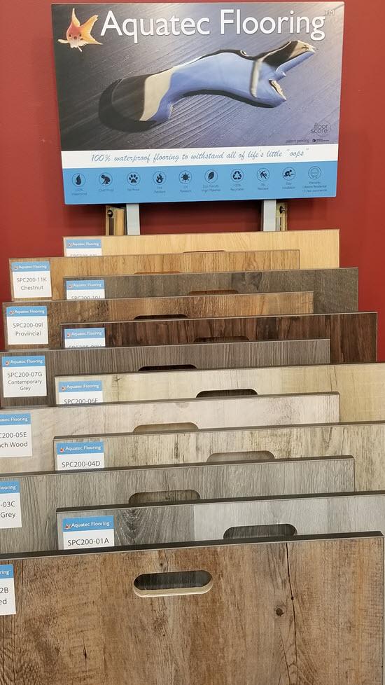 The Aquatec luxury vinyl tile display at Floor Decor Design Center in Orange, CT