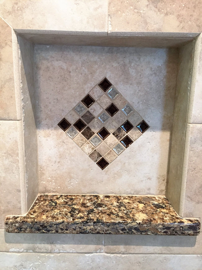 Bathroom niche tile installation by Floor Decor Design Center