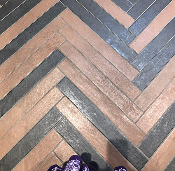 Inspired Living Coral Tile Herringbone Touches