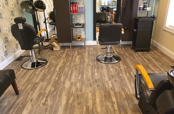 Shaw LVT flooring for this home salon.