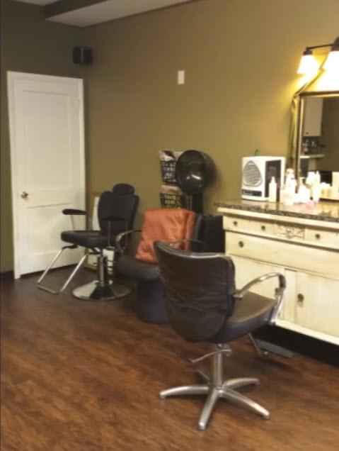 This hair salon chose LVT flooring.