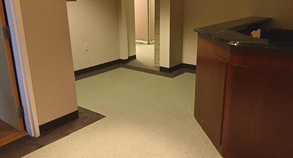 This is the Shaw commercial nylon carpet with a custom border.