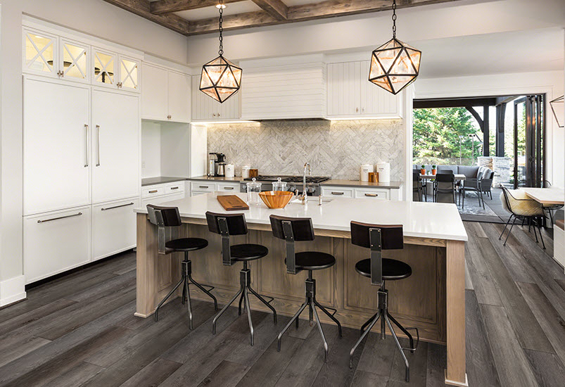 Skyview Nebula adds sophistication to this open kitchen.