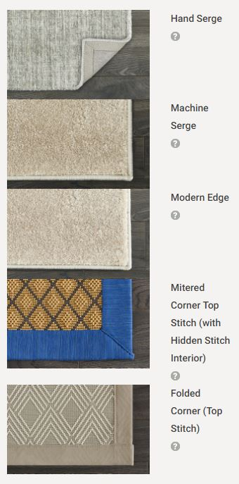 Step 2: Select How You Want Your Rug Finished