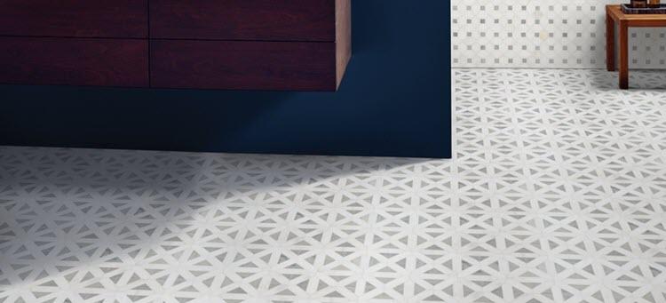 Bianco Dolomite Geometric Mosaic – Marble