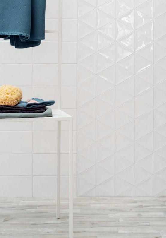 Diamond Accent Wall with Enlarged Subway Tile - Porcelain