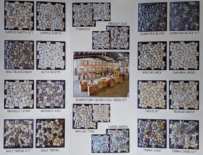 The Toemi Decorative Pebble Tile Collection includes pebbles from different islands