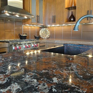 Quartz countertops consist of 93-95% ground quartz minerals, combined with resin binders and pigments for color under intense heat and pressure to form a solid slab.