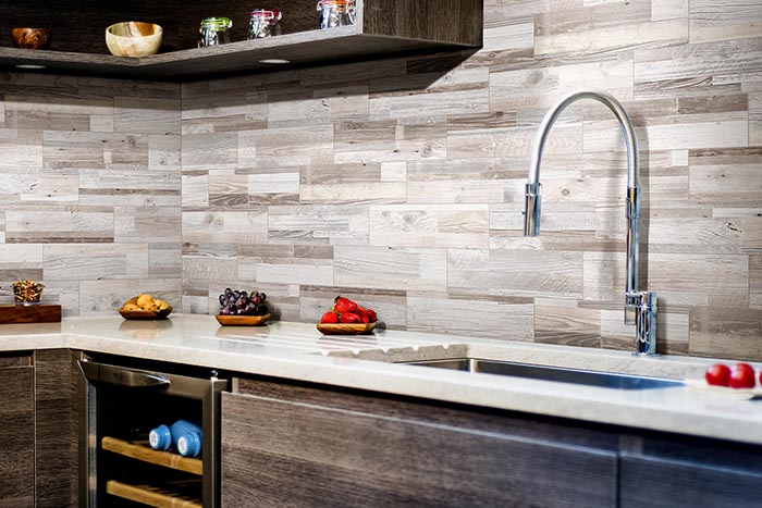 Driftwood in an all-over wall tile installation.