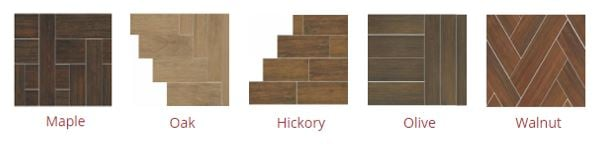 Examples of patterns possible with porcelain wood look tile