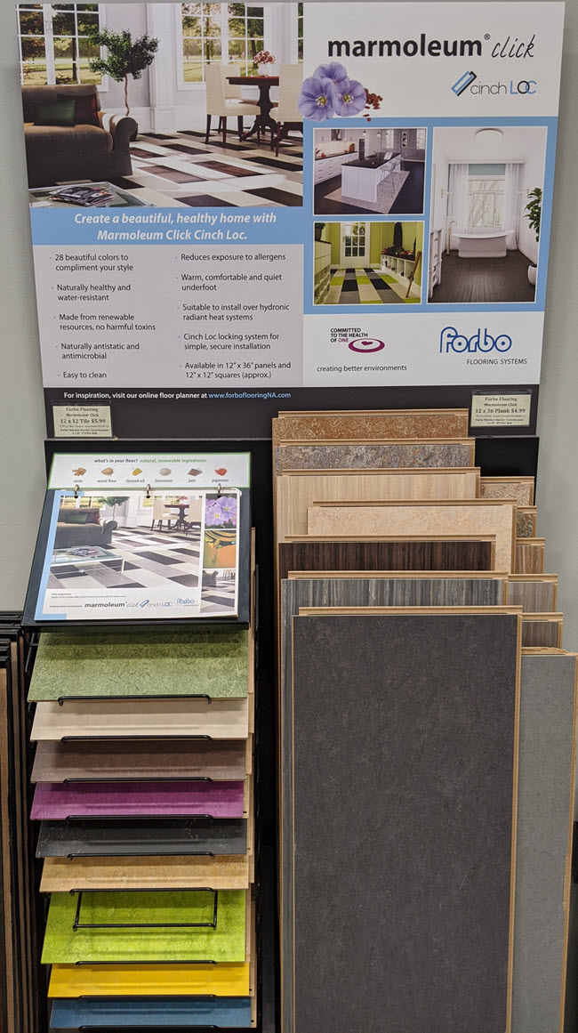 Forbo-Marmoleum-DisplayYou'll absolutely love what's available to choose from with Marmoleum!