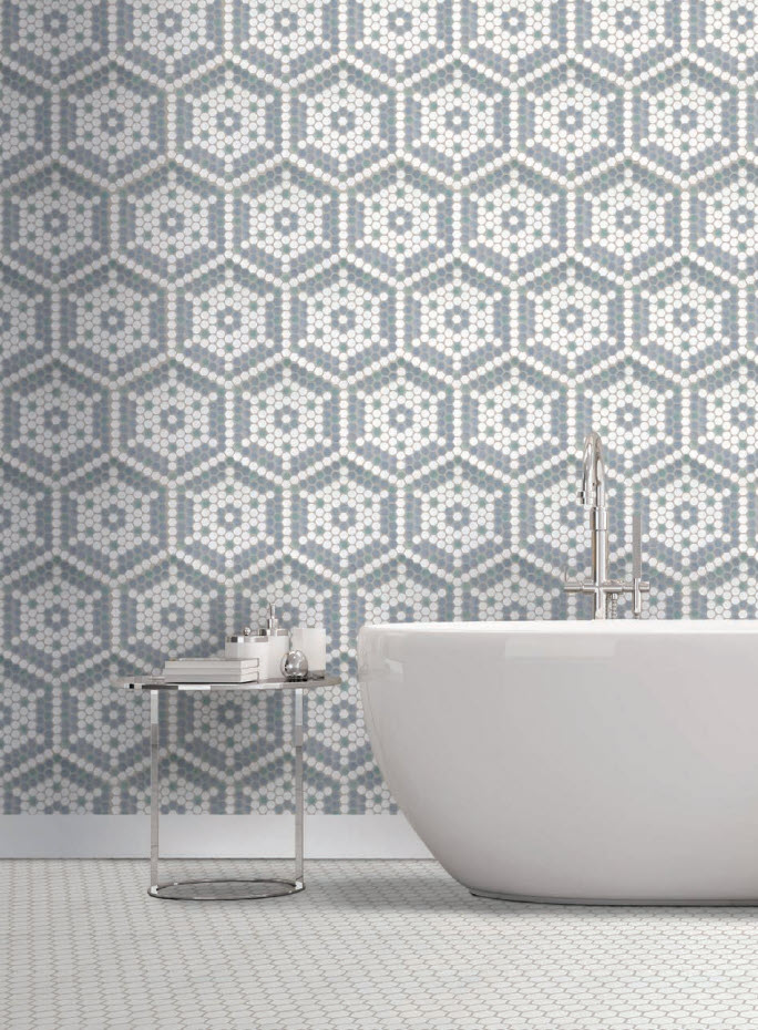 Seastar Deco Mosaic in Seafoam White with Blue and Green on the walls.