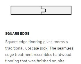 On-site finishing allows you design options such as non-beveled edge profiles.